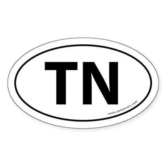 Tennessee TN Auto Sticker -White (Oval)