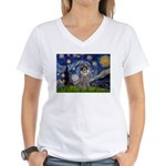 Starry Night / Poodle (s) Women's V-Neck T-Shirt