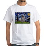 Starry Night / Poodle (s) White T-Shirt