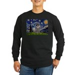 Starry Night / Poodle (s) Long Sleeve Dark T-Shirt