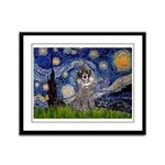 Starry Night / Poodle (s) Framed Panel Print