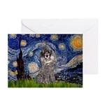 Starry Night / Poodle (s) Greeting Cards (Pk of 10