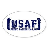 Proud USAF FthrNlaw - Tatterd Style Oval Decal