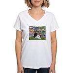 Lilies / 3 Poodles Women's V-Neck T-Shirt