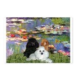 Lilies / 3 Poodles Postcards (Package of 8)