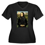 Mona Lisa /Puli Women's Plus Size V-Neck Dark T-Sh