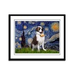 Starry / Saint Bernard Framed Panel Print