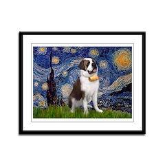 Starry / Saint Bernard Framed Panel Print