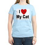 I Love My Cat (Front) Women's Pink T-Shirt