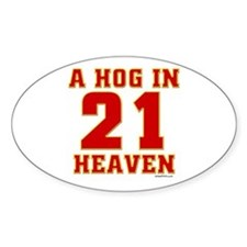 (21) A HOG IN HEAVEN Oval Decal