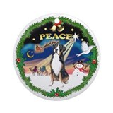 Peace Wreath Greater Swiss Mt Dog Ornament (Round)