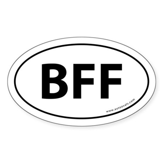 BFF Auto Sticker -White (Oval)
