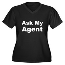 Ask my agent Women's Plus Size V-Neck Dark T-Shirt