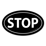 STOP Auto Sticker -Black (Oval)