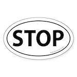 STOP Auto Sticker -White (Oval)