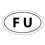 F U Auto Sticker -White (Oval)