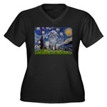 Starry /Scot Deerhound Women's Plus Size V-Neck Da