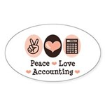 Peace Love Accounting Accountant Oval Sticker