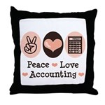 Peace Love Accounting Accountant Throw Pillow