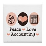 Peace Love Accounting Accountant Tile Coaster