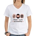 Peace Love Accounting Accountant Women's V-Neck T-