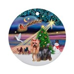 Xmas Magic Yorkie (9) Ornament (Round)