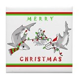 Christmas Sharks Tile Coaster