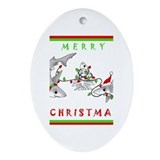 Christmas Sharks Oval Ornament