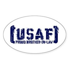 Proud USAF BroNlaw - Tatterd Style Oval Decal