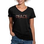 Anti-war Peace Letters Women's V-Neck Dark T-Shirt