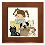 Puppy Dog Friends Framed Tile