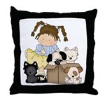 Puppy Dog Friends Throw Pillow