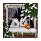 AMERICAN ESKIMO DOGS WINTER WINDOW Tile Coaster