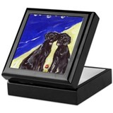BLACK LABS at the Beach Desig Keepsake Box