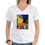 Cafe / Sheltie Women's V-Neck T-Shirt