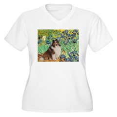 Irises / Sheltie Women's Plus Size V-Neck T-Shirt