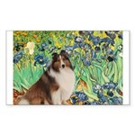 Irises / Sheltie Sticker (Rectangle)
