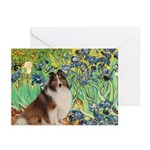 Irises / Sheltie Greeting Cards (Pk of 10)
