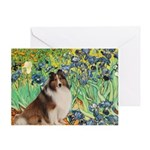 Irises / Sheltie Greeting Card