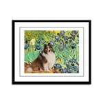 Irises / Sheltie Framed Panel Print