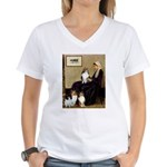 Whistler's / 3 Shelties Women's V-Neck T-Shirt
