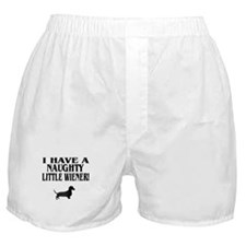 Naughty Little Wiener Dachshund Boxer Shorts