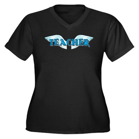 Angel Wings Teacher Women's Plus Size V-Neck Dark