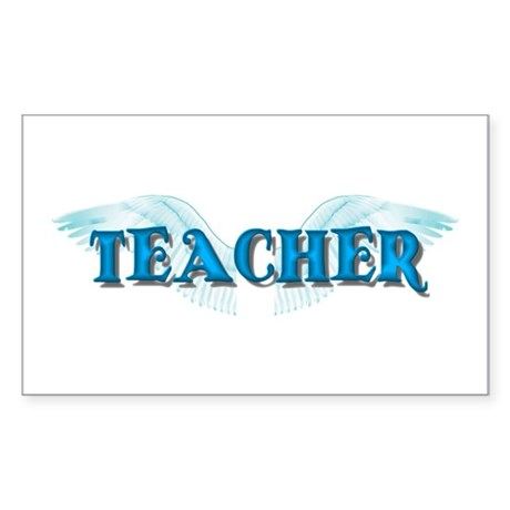 Angel Wings Teacher Rectangle Sticker