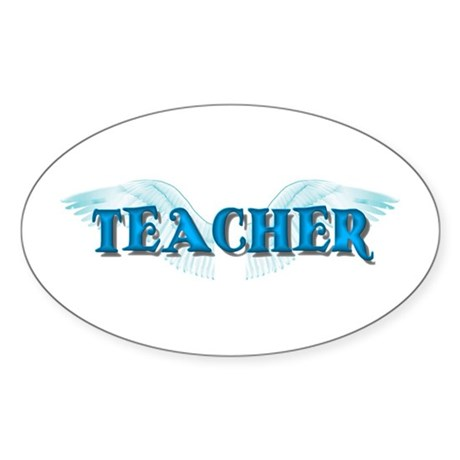 Angel Wings Teacher Oval Sticker