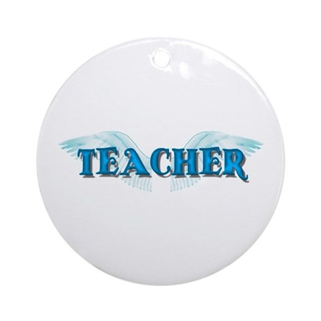 Angel Wings Teacher Ornament (Round)