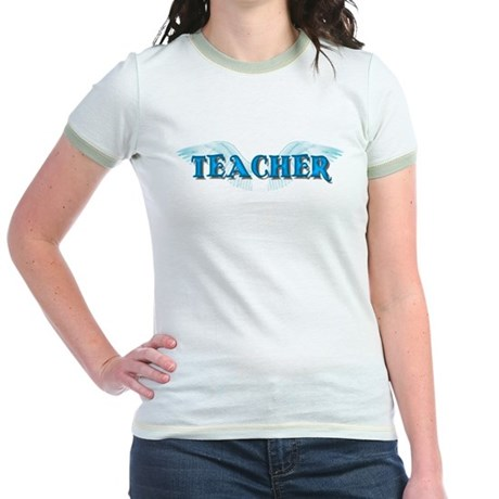 Angel Wings Teacher Jr. Ringer T-Shirt