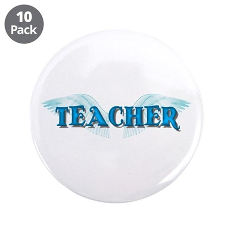 "Angel Wings Teacher 3.5"" Button (10 pack)"