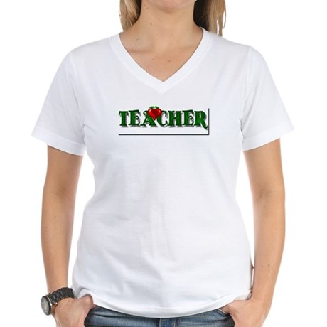 Teacher Apple Women's V-Neck T-Shirt