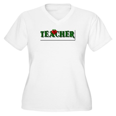 Teacher Apple Women's Plus Size V-Neck T-Shirt